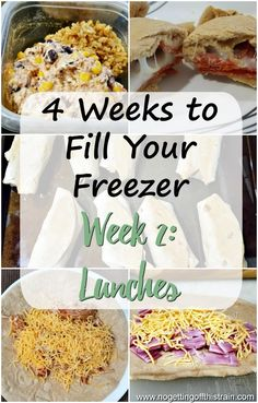 4 Weeks to Fill Your Freezer Challenge Week Lunch In Week 2 of this 4 Weeks to Fill Your Freezer challenge, you'll make delicious lunches to freeze and pull out for a fast and convenient meal! Freezer Friendly Meals, Budget Freezer Meals, Healthy Freezer Meals, Easy Meals, Meals To Freeze, Inexpensive Meals, Freezer Recipes, Budget Recipes, Frugal Meals