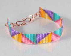 Braided Ribbons Bead Loom Bracelet Artisanal Jewelry Southwestern Western Jewelry Beaded Bohemian Tribal Inspired Bright Colorful - Home Bead Loom Patterns, Beading Patterns, Diy Jewelry, Beaded Jewelry, Bead Loom Bracelets, Western Jewelry, Loom Beading, Bead Weaving, Artisan Jewelry