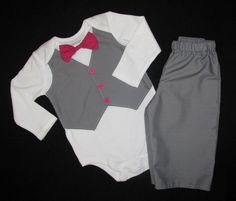 Custom Tuxedo set - Vest with bowtie on Long-sleeve Onesie or Short-sleeve Tshirt and matching pants, ANY COLOR and SIZE - Disarray Designs. $44.00, via Etsy.
