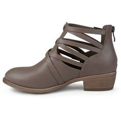 Women's Journee Collection Savvy Strappy Faux Leather Booties - Taupe (Brown) 5.5
