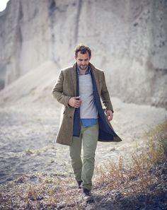 OCT '14 Style Guide: J.Crew men's Ludlow topcoat in herringbone, denim shirt in engineer stripe, 770 pants, and printed scarf.