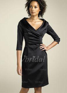 Robes de mère de la mariée - $126.99 - Forme Fourreau Col V Au niveau du genou Charmeuse Robe de mère de la mariée avec Plissé (00805006735)