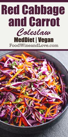 Red Cabbage and Carrot Coleslaw gluten free vegan Mediterranean diet friendly and easy vegetable based side or salad. Side Dish Recipes, Veggie Recipes, Vegetarian Recipes, Cooking Recipes, Healthy Recipes, Bread Recipes, Cooking Tips, Side Dishes, Red Cabbage Salad