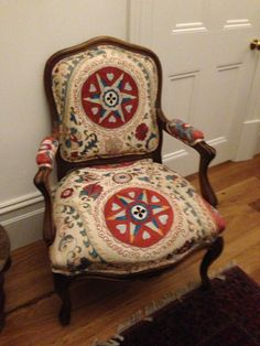 Solid walnut bergere chair, hand embroidered silk suzani  - Perfection!!!!