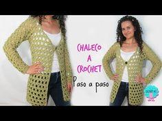 Chaleco manga larga a crochet/ paso a paso - YouTube
