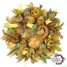 Deco Mesh Fall Gourd Wreath For Door or Wall Bronze Gold Moss Green by www.southerncharmwreaths.com #decomesh #fall #peony #bronze #wreath