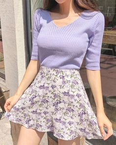 Nice purple sweater and floral skirtYou can find Floral skirts and more on our website.Nice purple sweater and floral skirt Purple Outfits, Casual Summer Outfits, Spring Outfits, Pretty Outfits, Pretty Clothes, Floral Outfits, Spring Clothes, Purple Dress Casual, Cute Dress Outfits