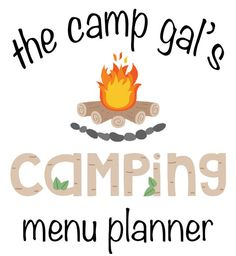 Menu Planner for Camping. Perfect for weekend trips!