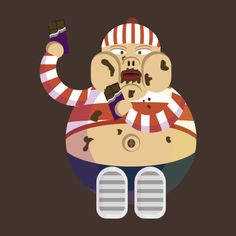 Fat boy eating chocolate. Ideal tee for chocolate lovers