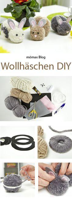 Süße Wollhäschen für Ostern selber machen -DIY, Easter, Spring