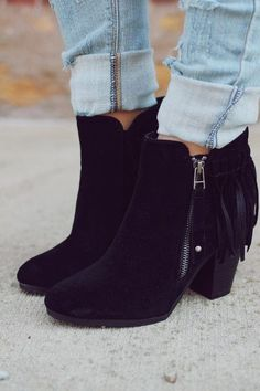 womens black booties with buckles Heeled Boots, Bootie Boots, Shoe Boots, Boot Heels, Women's Boots, Ankle Boots, Cute Shoes, Me Too Shoes, Fringe Booties
