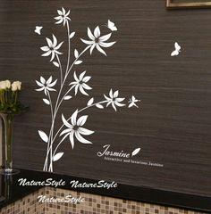 Beautiful Flower with Butterflies-Vinyl Wall Decal,Sticker