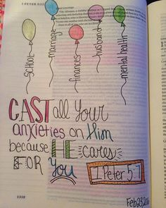 """Cast all your anxieties on him because he cares for you."" 1 Peter by wecolourbibles Bible Doodling, Scripture Art, Bible Art, Bible Verses Quotes, Bible Scriptures, Bibel Journal, Bible Study Journal, Art Journaling, Bible Verses"