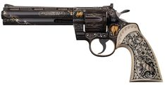 Historic Extremely Well-Documented Exhibition Quality Engraved, Inlaid and Carved Colt Python Double Action Revolver Presented by The King of Rock & Roll Elvis Presley to Employee Richard Grob Colt Python, Weapons Guns, Guns And Ammo, Custom Revolver, Rock Island, Cool Guns, Firearms, Hand Guns, Auction