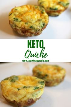 "KETO Quiche is the perfect quick fix breakfast, brunch or snack.  These low carb little ""muffins"" are loaded with TONS of flavor without all the guilt.  Check out the post for some additional ideas to make them perfect for you and your family. . . #keto #quiche #bacon #sausage #egg #cheese #sparklesnsprouts #ketolife"