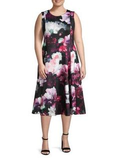 CALVIN KLEIN COLLECTION Plus Floral-Print Knee-Length Dress. #calvinkleincollection #cloth Calvin Klein Collection, Dress Outfits, Dresses, World Of Fashion, Floral Prints, Cold Shoulder Dress, Clothes For Women, Shopping, Style