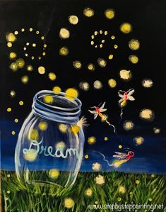 Learn how to paint a clear mason jar with lightning bugs inside and around the jar. This easy canvas painting tutorial will guide you through the steps.