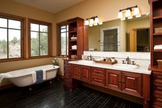 Natural wooden bathroom cabinets double sink with large mirror and light   Decolover.net