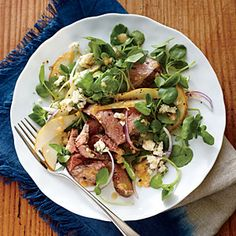 Steak, Pear, and Watercress Salad | MyRecipes.com / #lowcarb shared on https://facebook.com/lowcarbzen