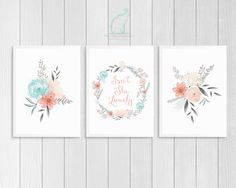 Pink and Mint Nursery Prints, Printable, Isn't she Lovely, Coral and Grey, Girl room, Nursery decor, Pink bedroom, Flowers, Quote print by TheMintElephantPrint on Etsy https://www.etsy.com/listing/462439019/pink-and-mint-nursery-prints-printable