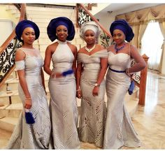 Coco and Caleb are having their traditional wedding today! Coco's brother, Davido, shares some gorgeous moments from the traditional wedding. The wedding color scheme of the couple are Blue, Silver… African Wedding Attire, African Attire, African Weddings, African Outfits, African Clothes, African Wear, African Dresses For Women, African Women, Afro