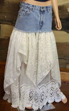 Upcycled Denim Skirt Lace Maxi Shop Shabby Shack Vintage Denim in Courtyard Antiques (formerly known as Front Porch Antiques Mall) in the Mason Antiques District. Open 7 Days, 10 A. Vintage Denim for Women & Children. Recycled Fashion, Recycled Denim, Diy Clothing, Sewing Clothes, Look Fashion, Diy Fashion, Denim Ideas, Denim Crafts, Altered Couture