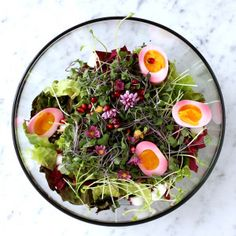 Microgreens with Edible Flowers, Beet Stained Soft Boiled Eggs and Lemon Honey Vinaigrette - Nancy's Cravings