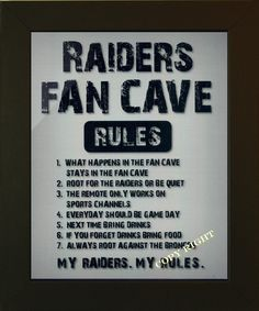 Raiders man cave sports artwork for sports man cave decorations. Visit