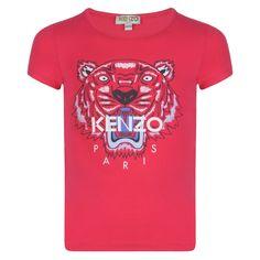 22ca7c55ecd2 Kenzo Kids Girls Fuchsia Pink T-Shirt with Tiger Logo Print
