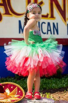 Newborn  Size 9 Cinco de Mayo Layered Tutu Dress by krystalhylton, $35.00