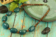 Teal Blue Tagua Nuts and Small nuggets of wood by ColorsofBrazil