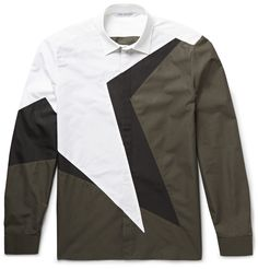 Neil Barrett is a proponent of forward-thinking design, as evidenced by this cotton-poplin shirt. Cut for a trim fit, it's made from panels of army-green, white and black that lend it dynamic appeal. Continue the cool vibe with a leather jacket and tapered trousers.