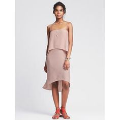 Strappy tiered dress blush color Beautiful blush tiered dress looks great on many body types Banana Republic Dresses
