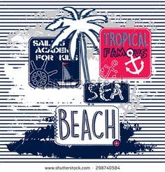 sailing academy for kids, tropical famous beach, T-shirt design vector illustration