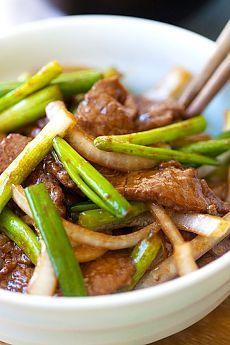 Вкусное жаркое из говядины с луком пореем и китайским соусом