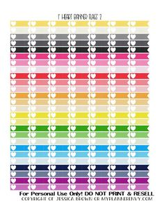 """Free Printable 1"""" Heart Banner Flags 2 of 2 from myplannerenvy.com"""