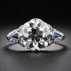 3.30 Carat Diamond and Sapphire Art Deco Engagement Ring #antiquering #ring#wedding