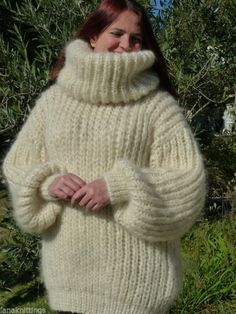 Hand Knitted Longhair Mohair Sweater XL  2XL T-neck removable by LanaKnittings
