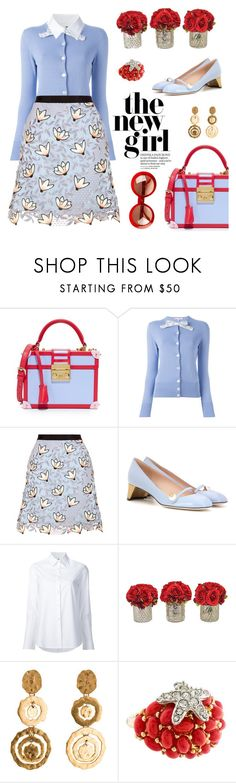"""Girl next door"" by pensivepeacock ❤ liked on Polyvore featuring MayraFedane, Olympia Le-Tan, self-portrait, Gucci, Misha Nonoo, The French Bee, Oscar de la Renta, Kenneth Jay Lane and Sonia Rykiel"