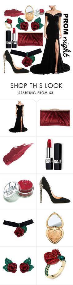 """""""beauty and the beast prom dress"""" by pianogirl7890 ❤ liked on Polyvore featuring Rachel Gilbert, Glint, Lily Lolo, Christian Dior, Cerasella Milano, Too Faced Cosmetics and Atelier Swarovski"""