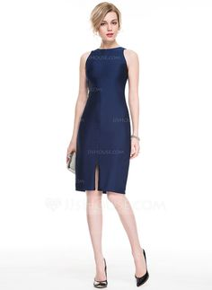[€ 69.95] Sheath/Column Scoop Neck Knee-Length Jersey Cocktail Dress With Split Front (016083902)