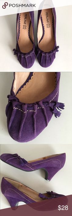 Perlina Suede Princess pump Perlina New York Princess Suede Pump. Suede and Leather Soles in very good condition. Small discoloration on back heel shown otherwise great condition. Very pretty color. 👍OFFERS Welcome 🚫no trades pls Perlina Shoes Heels