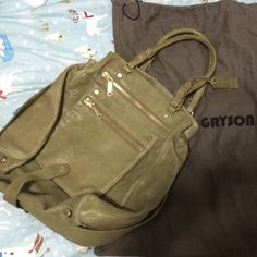 "Gryson Mia Handbag Olive Green Very popular style bag. In excellent condition, non-smoking home. Has been cleaned. There is a very small area that is worn on one of the bottom corners. This could be repaired easily. Please see pic. 14""x15""x2"" Bags Shoulder Bags"