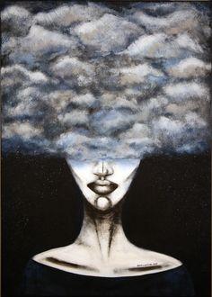 Clouds, 50x70cm, acrylic on canvas, 2015, portrait, painting, art, clouds, face