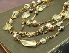 Citrine 4 way necklace  statement necklace  long  by AdornmentsNYC, #Etsy #citrine