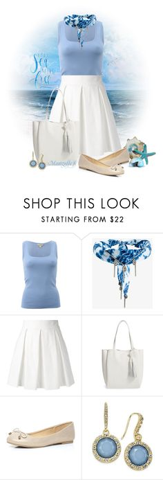 """""""Let the sea set you free"""" by mamzelle-f ❤ liked on Polyvore featuring Michael Kors, DANNIJO, Boutique Moschino, Vince Camuto, Dorothy Perkins, INC International Concepts, Blue and whiteskirt"""