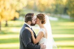Romantic golden hour portrait of the bride and groom kissing | Ashley Gerrity Photography | Whitemarsh Country Club, Lafayette Hill Wedding