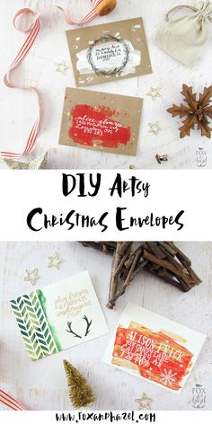 Add some artsy flair to your Christmas card envelopes with these simple techniques from Fox and Hazel. With some acrylic paint, paint and brush pens and basic supplies like a used credit or gift ca… How To Make An Envelope, Diy Envelope, Envelope Design, Mail Art Envelopes, Addressing Envelopes, Noel Christmas, Christmas Crafts, Xmas, Christmas Sewing