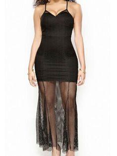 Sexy Black Sheer Mesh Hem Spaghetti Strap V Neck Bodycon Dress