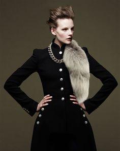 Alexander McQueen Silvertone Chain Choker Necklace & Fur Fox Tail Charm, Gray